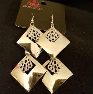 Square Silver Dangle Earrings